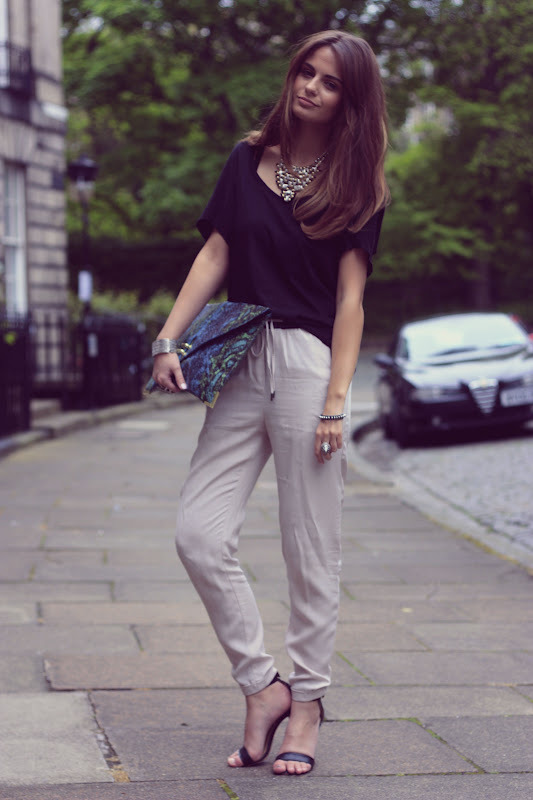 Joggers: H&M, T-Shirt: Topshop, Necklace: H&M, Shoes c/o Mango, Bag c/o ASOS (image: catsandrockingchairs)