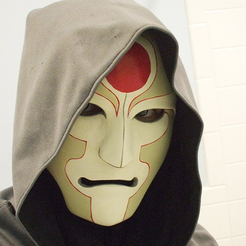 "slavicinferno:  Awesome Amon Cosplay ""Mask is made from rigid wrap (plaster bandages) then sculpted on top with paperclay. There's approximately five million layers of gesso on this. Took me an hour to mix the correct shade for his markings/mask shade. I don't even want to talk about how long the thin red line took me to paint."""