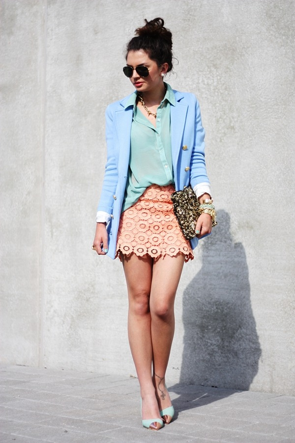 what-do-i-wear:  blazer: H&M // blouse: Primark // skirt: StylebyMarina // clutch: Zara // necklace: VJ-Style // metallic toe cap pumps: Nelly shoes (image: fashionhippieloves)
