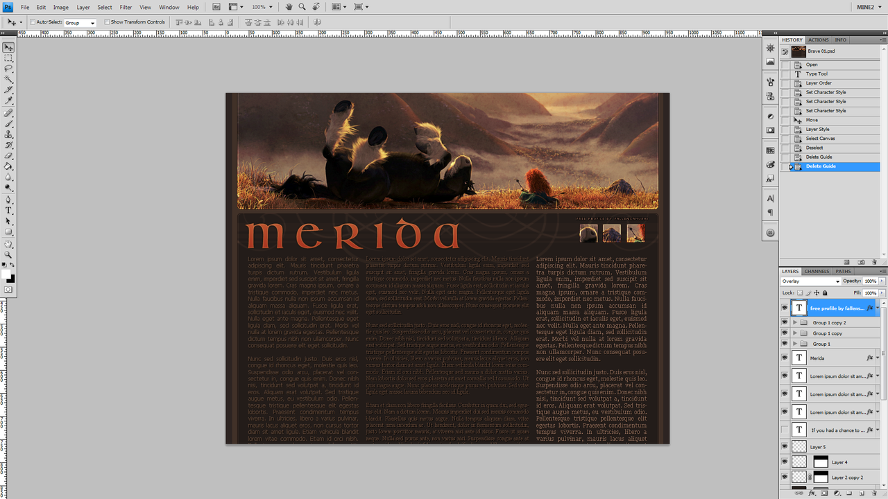 WIP - Brave - FREE 3 Column User Profile featuring Merida and Angus.