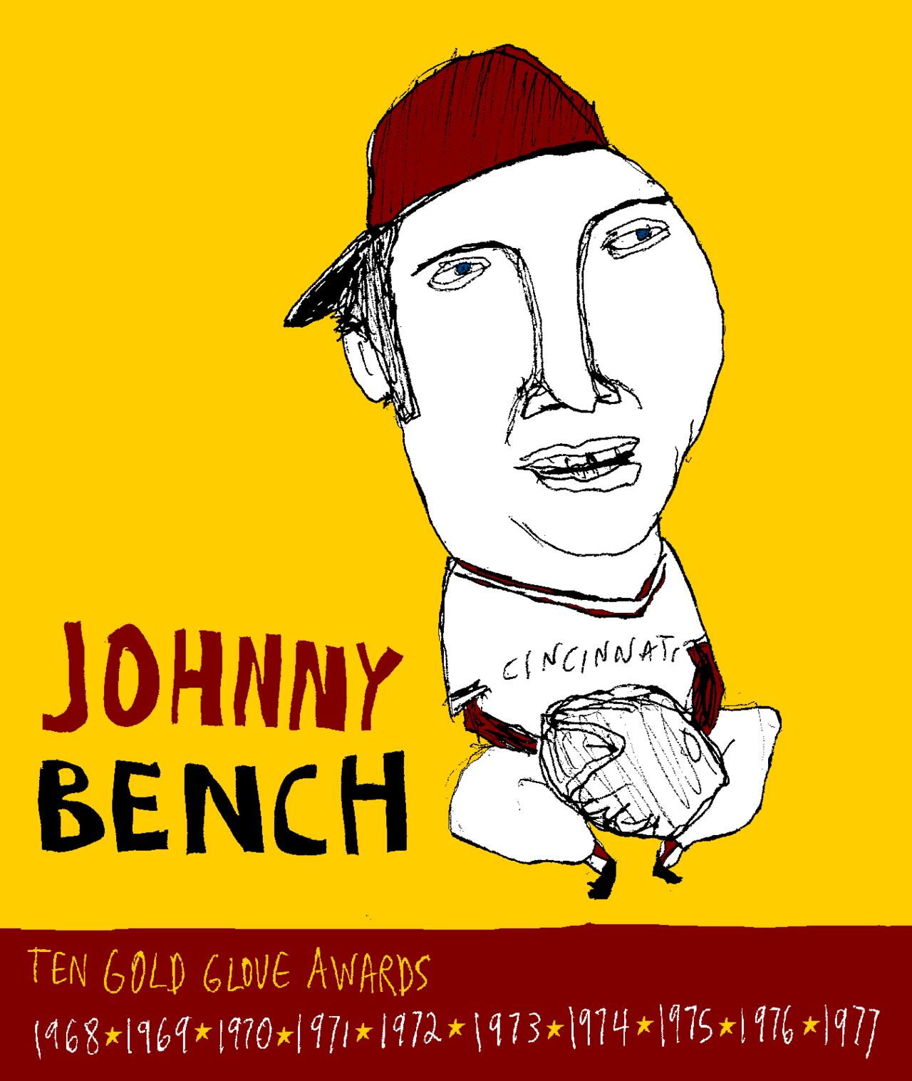 Johnny Bench Cincinnati Reds… For more detail go to http://baseball-art.blogspot.com/2012/05/johnny-bench.html
