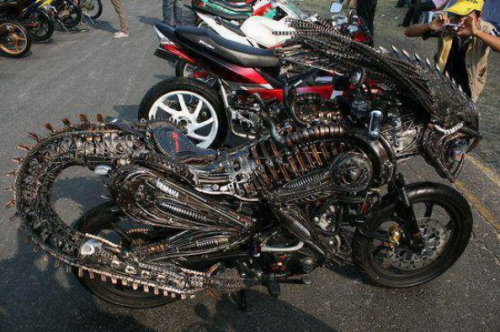 Alien Themed Motorcycle Your bike seems to be leaking some kind of corrosive acid.