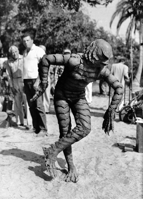 Ben Chapman between takes on the set of Creature from the Black Lagoon (1954)