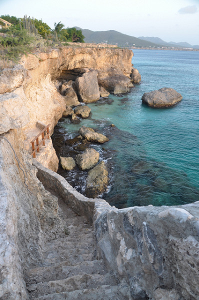 visitheworld:  Stairway on the coast near Kura Hulanda, Curaçao Island (by daphenator).