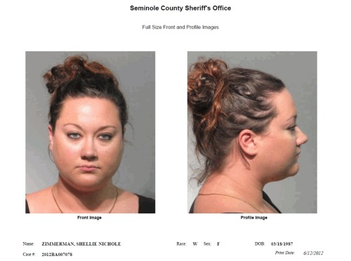 Updated with article and photo: George Zimmerman's wife, Shellie, has been arrested on one count of perjury. Bond has been set at $1,000.