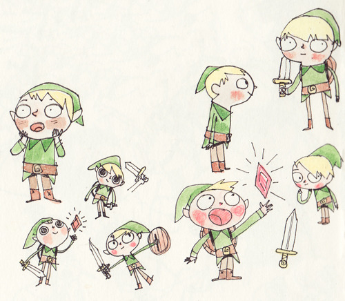 Little Links that I drew in my sketchbook. I love Zelda..