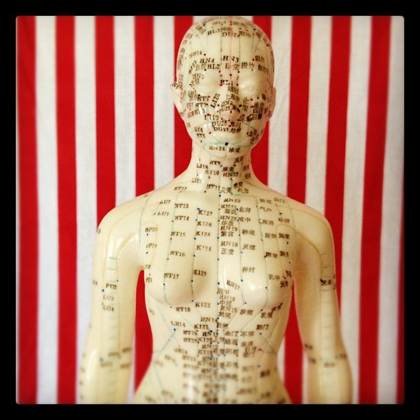 #acupuncture #chinese #model #doll #white #red #stripes #photography #photo #instagramers #webstagram #iphone4s #woman #breast (Taken with Instagram)
