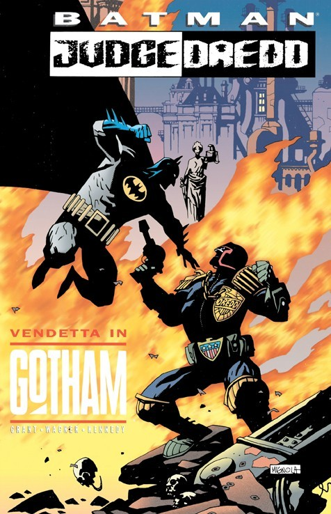 culturaldictionaryofdick:  Batman vs. Judge Dredd by Mike Mignola