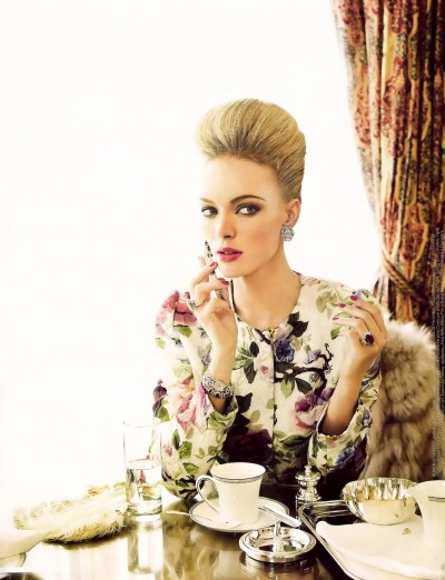 opaqueglitter:  Heidi Harrington-Johnson for Tatler UK May 2010, then reprinted for Vogue Latin America Nov 2010.  SHOP HEIDI'S LOOK HERE