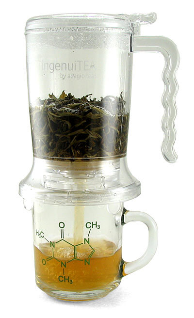 thingsaboutnothingandeverything:  IngenuiTEA 16oz Teapot @ Think Geek (mug not included)  I have this guy! It's made by Adagio teas, and their tea itself is also super fabulous fantastico. Anyway, if you make loose-leaf tea on a regular basis, I cannot recommend this teapot enough. It's convenient to brew the tea in, strains out all the finest particles of tea leaves, and is easy to clean and care for.