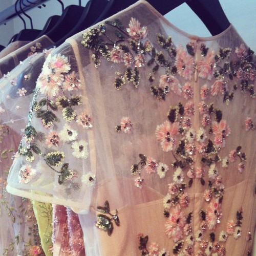 glamour:  Beaded detail on one of Valentino's resort 2013 gowns.