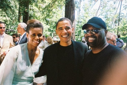 Michelle and Barack Obama with house legend Frankie Knuckles
