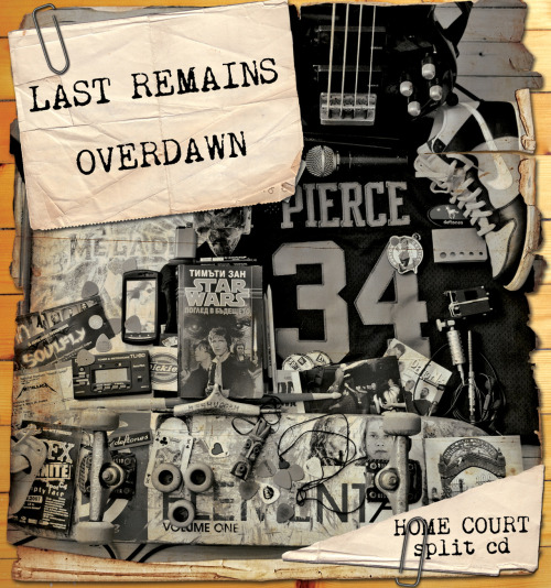"This is the cover of Overdawn & Last Remains' split CD, which I designed. The split CD, called ""Home Court"" is available for free download here - http://www.mediafire.com/?2ob5cu94kmhz579 so if you're a hardcore/death metal kid and you like breakdowns and shit feel free to download and share it. In the archive is the full cover with lyrics and other interesting stuff from the bands. REBLOG PLS! SUPPORT YOUR LOCAL SCENE!"