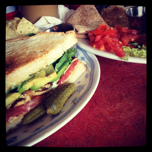 Wanna-BLT @ bouldin creek cafe. tofu bacon, L, T, and avocado. Served with a side of chips &salsa