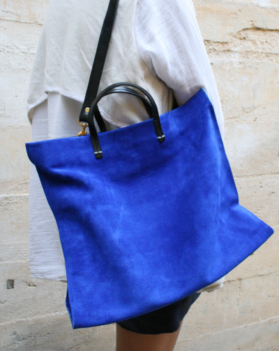 The electric blue suede tote by Clare Vivier!