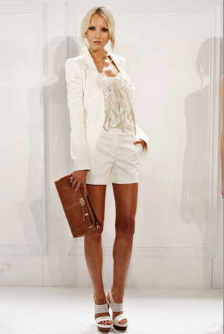 rachelzoe:  Q: What style of shorts and sandals  are work appropriate in the summer time? A: It depends on your work environment, but you're always safe with suiting. Pair your shorts with a matching blazer, a tie neck or ruffle blouse and a refined sandal for a sophisticated workday ensemble. For a more casual alternative opt for a pair of sleek shorts, a flouncy dolman sleeve top and some gladiator inspired sandals. xoRZ Get the look: Gene II Tuxedo Shorts Megan Suit Jacket Gabrielle Ruffled Tank