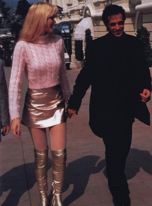 vivaversace:  Claudia Schiffer wearing Gianni Versace with David Copperfield in 1994