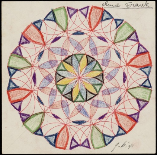 A drawing by Anne Frank, which she made in the sixth class of the Montessori school. With thanks to bellswithin.