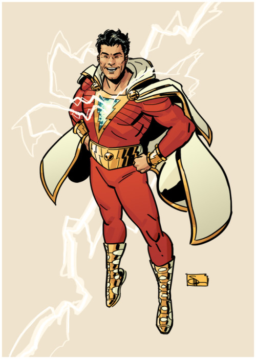 docshaner:  Since we got a better look at Shazam's (the new DC Universe's Captain Marvel) costume yesterday I figured I should give it a try to say that I did. It took a good while longer to do than I expected — I guess I got so used to drawing the guy one way that anything else took me a while to wrap my head around. There's still some details that I'm not sure whether I got right or not. Either way, it was definitely interesting to tackle a design so different from my own wheelhouse. I still can't draw the guy not smiling though.