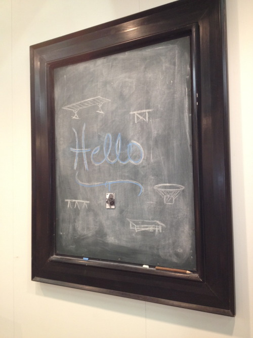 Spotted! Easy Decorating Idea: Chalkboard in an old frame.
