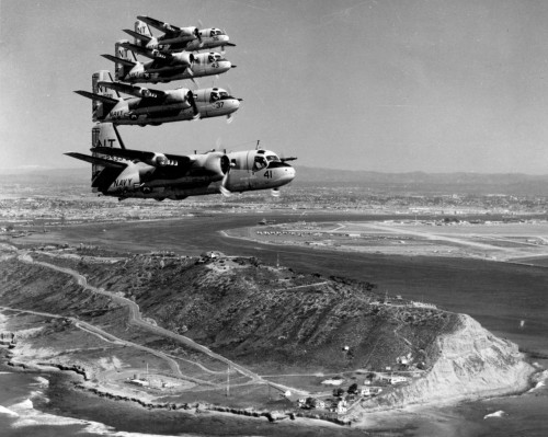 thenobelexperiment:  Four-plane formation flying past the southwest corner of Point Loma looking northeast. San Diego, Ca. 1968
