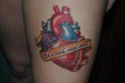 "fuckyeahtattoos:  Based on the lyrics, ""Random hearts that beat for each other, random hearts in a cruel, cruel world"" from Random Hearts by Laura Jane Grace. Done by Chris Lurie (the nicest and most talented human being on the planet) at Lasting Empressions in Dothan, AL."
