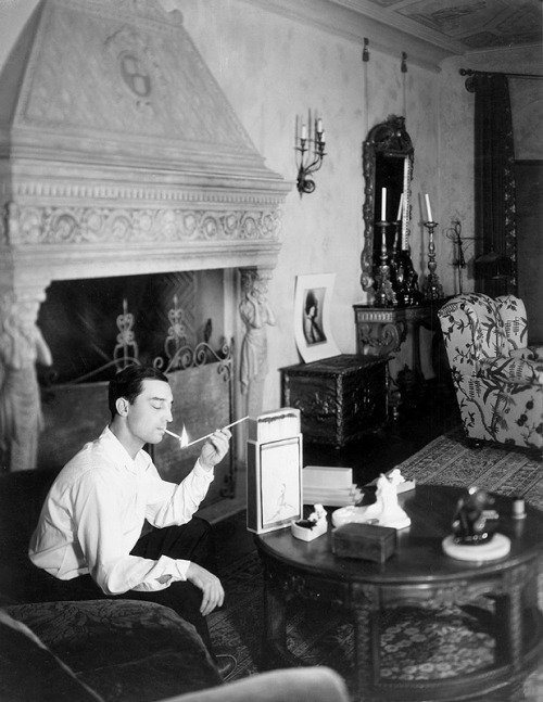 Buster Keaton at home.