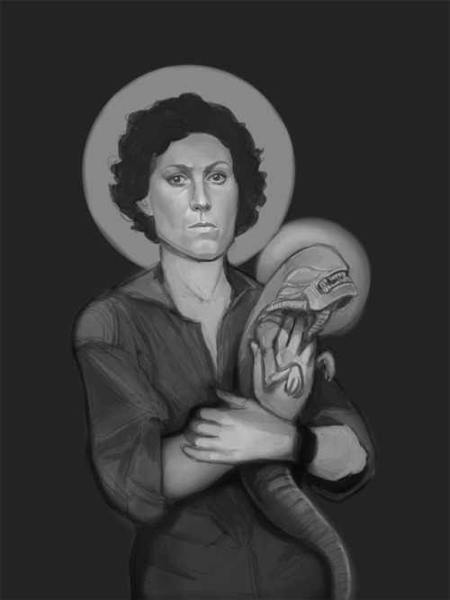 Ellen Ripley (Madonna and Child) value sketch wacom and photoshop  Hoping to knock this one out tonight.  Why hello there, caffeine :P