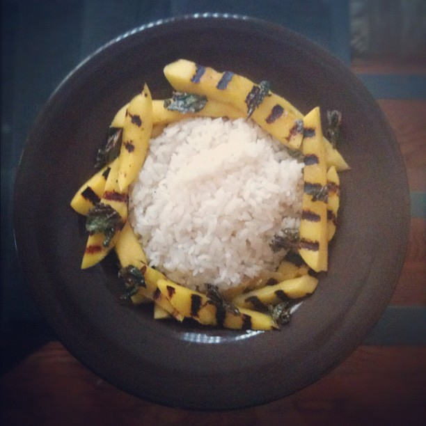 Coconut sticky rice, Grilled mango, candied Thai basil. (Taken with Instagram)