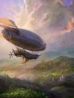 madamecuratrix:  Lovely Airship art by SnowSkadi.