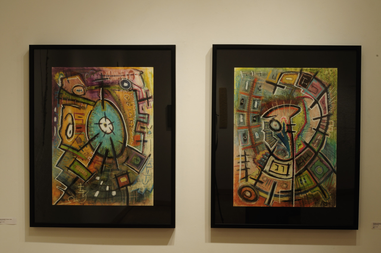 Two pieces by Bryan Fulton, 2012, pastel on paper.