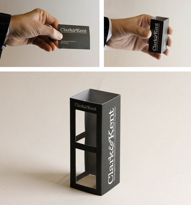 laughingsquid:  Ad Agency Clark&Kent Creates Pop-Out Phone Booth Business Cards
