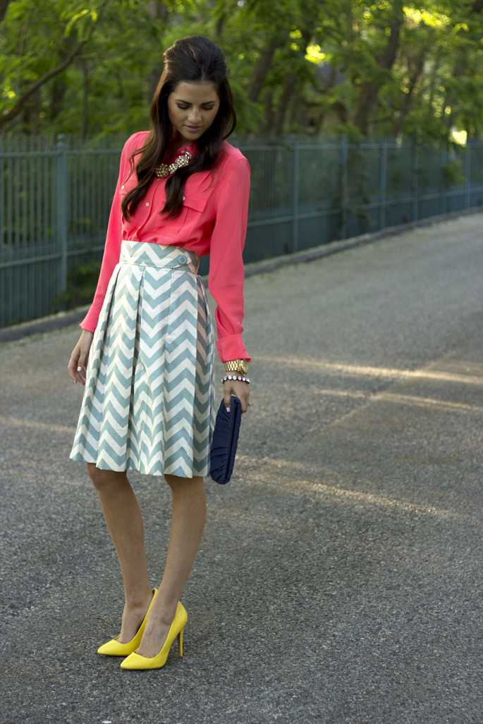 Top: J.Crew {last worn here, color: neon rose} | Skirt: c/o Cori Lynn {another styled design here} | Shoes: Asos {similar style} | Necklace: c/o Loren Hope | Bag: c/o Mary Nichols {also seen here} | Watch: Michael Kors | Bracelet: J.Crew