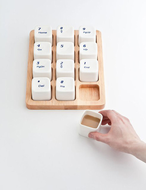 maskiodesign:  Keyboard Coffee Cups by Shanghai designer E Square. (inspired by the Apple computer keyboard)