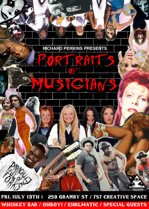 "Richard Perkins Presents: ""Portraits Of Musicians""  This event is showcasing a new collection of work by Richard Perkins,   consisting of newly brewed paintings and installations. Many will be intrigued, many will be shocked, many will love and a lot will hate. This evening isn't just art though, come have a ballin' time with Dj's OH!BOY & Ehrlmatic… special guests will appear here and there slaying and kickin' the tunes all night so nothing will be boring!  There will be a drink bar/whiskey bar for the men with beards and the girls with tears, your bar tenders for the night will be the one and only lone wolf Ian Oliver & 3 point champion Mike Turner.  FREE ENTRY!  Come support the scene, the art, the music and the city; come get weird, drink whiskey, fall in the complexity of the art and don't throw up on the punchlines.   Flyer design by Jeff Ward (Commodore Brand)  www.parachutefullofforks.com www.commodorebrand.com   FREE RESTLESS!"