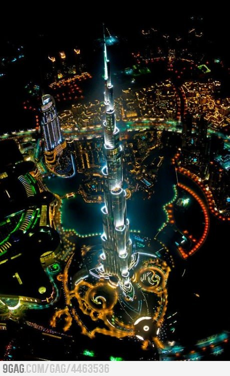 9gag:  Tallest building in the world, from a helicopter, at night