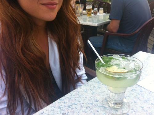Birthday drinks w my girl A. Cheers to 20-something (loving her ombré locks)