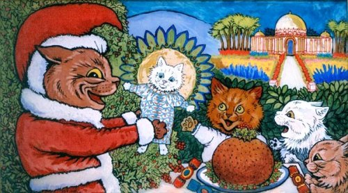a cat's christmas, louis wain