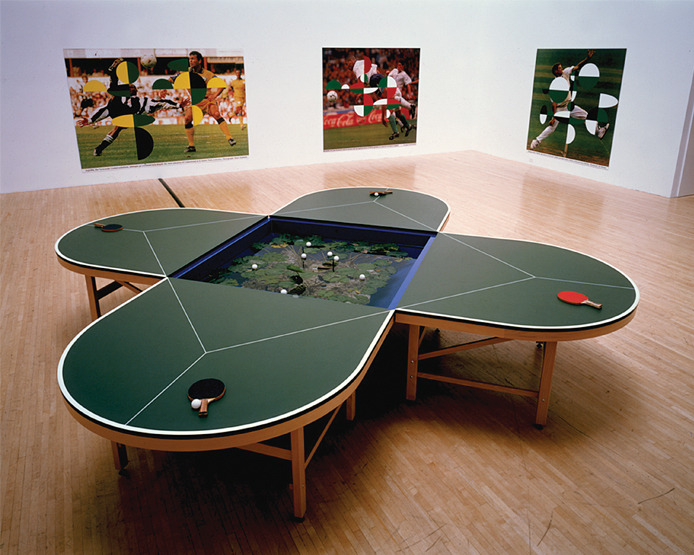 Gabriel Orozco (Mexico, b. 1962), Ping Pond Table (Mesa de ping-pong con estanque), 1998  Mixed media Collection of The Museum of Contemporary Art, Los Angeles  Purchased with funds provided by The Acquisition and Collection Committee, 2000, 2000.69