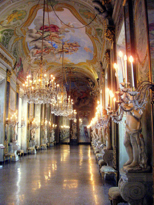 a-l-ancien-regime:  Hall of Mirrors Genoa, Italy. The Hall of Mirrors is perhaps the most impressive room on display in the Palazzo  Reale.