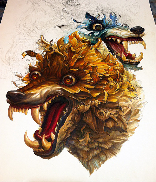 arsetculture:  Still in progress, first color shift.Cerberus: ink on paper.  http://bit.ly/MJvuo0 @ncwinters