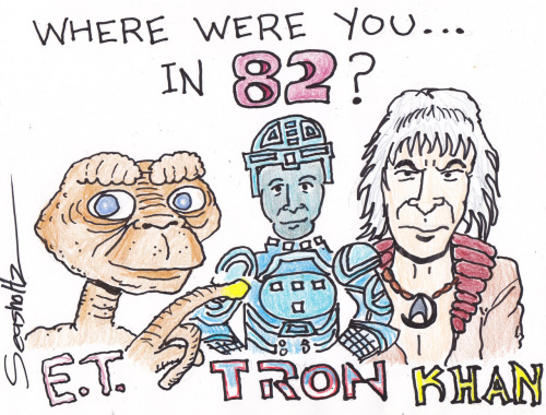 "Icons of 1982 cinema, as drawn by new Hollywonk contributor Jeffrey Seasholtz, aka Uncle Shappy, aka the ""nerd of spoken word."" (Perhaps you also saw him in Fanboys?) Tomorrow, Seasholtz will open up SHAPPY'S LONGBOX OF OPINIONS and tell us more about what made '82 so great — and whether or not 2012 can top it. Now, though, it's time for him to introduce himself:  Greetings, True Believers! The name is Shappy and I am happy to be joining the Hollywonk crew as the resident comic-book geek and pop-culture enthusiast! I have been bagging and boarding and consulting my Overstreet price guide since I was a young nerd of 10. I went to my first comic book convention in 1982 and met Marvel Editor-In-Chief, Jim Shooter and saw footage from a new movie coming out later that summer, BLADE RUNNER. I remember when DARK KNIGHT RETURNS, WATCHMEN and MAUS all came out and changed how everyone thought about comics. I held a tape recorder to the family TV set to record SUPERMAN THE MOVIE until my arm went numb. I spent some time in the trenches at CHICAGO COMICS and QUIMBY'S, two of the finest comic book and underground literature purveyors on the planet! I played a Trekkie in Ernie Cline's FANBOYS. I created the NERD SLAM at the National Poetry Slam which has been running for over 10 years. I have a book out called SPOKEN NERD REVOLUTION and I currently draw a twice weekly comic strip called UNCLE SHAPPY'S CHUCKLE PARLOUR! If that's not enough nerd cred for you I'm always ready to accept a trivia challenge or a YAR'S REVENGE play-off! With all that being said, it's great to meet you!"