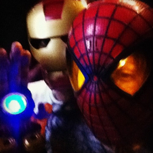 The things we do for our kids. Iron Man & Spiderman. #superheroes  (Taken with Instagram)