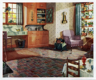 1930 Kitchen on Flickr. 1930s Kitchen in a linoleum ad.