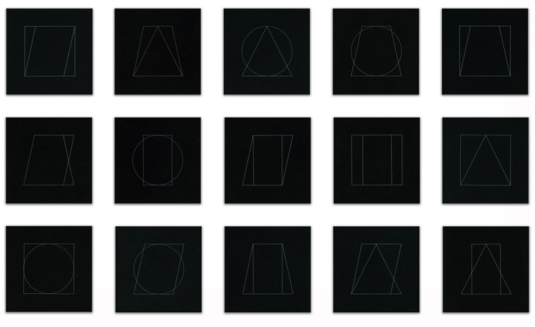 museumuesum:   SOL LEWITT All Double Combinations (Superimposed) of Geometric Figures (Circle, Square, Triangle, Rectangle, Trapezoid, Parallelogram), 1977 etchings with aquatint, 6 x 6 inches (15.2 x 15.2 cm)