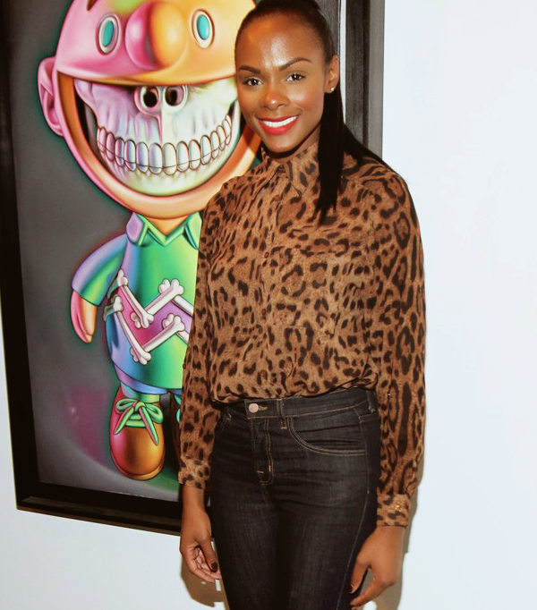 "blackandkillingit:  fuckyeahfamousblackgirls:  Tika Sumpter at Chris Brown and Ron English art show ""Dum English"" in New York City  Black Girls Killing It Shop BGKI NOW"