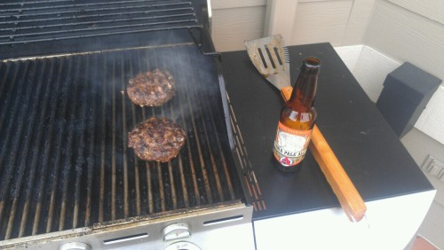 Black and bleu burgers with a side of Avery IPA.