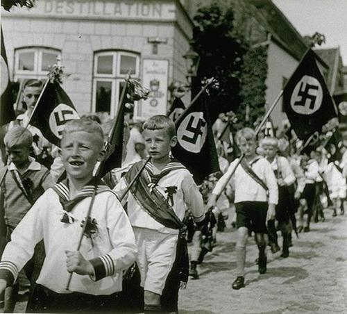 itsjohnsen:  Hitler Youth on parade, Germany. Unattributed