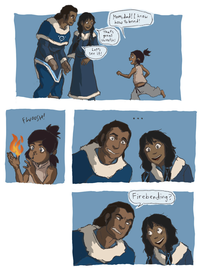 miaman:  chongthenomad:  only7korrafanarts:  I know bending isn't genetic, but I couldn't resist.  AHHHHH THIS IS ADORABLE <3  BAHAHAHAHAASAHJDG