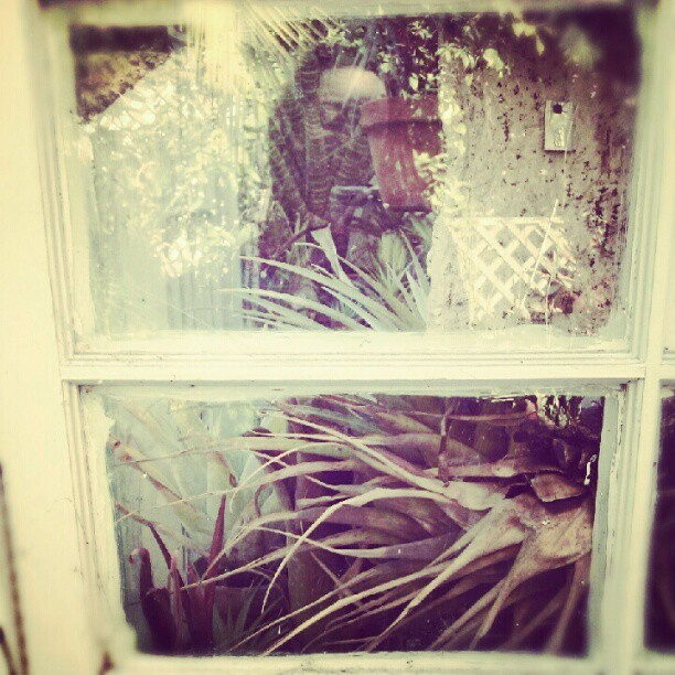 outside in my yard is where I like to be #selfportrait #greenhouse #backyard #reflection  (Taken with Instagram)